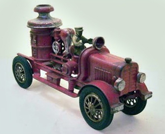 Fire Engine Metal, painted. From the Haverhill Historical Society toy collection.