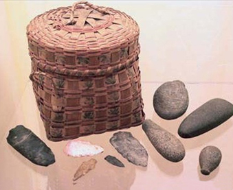 Native American Basket and Stone Tools Split ash wood & various stone.